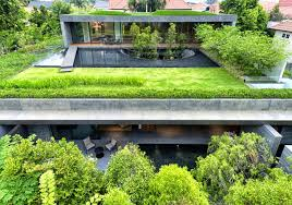 green roof house in singapore the wall house modern home