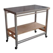 Kitchen  Counter And Storage Space Solid Wood Shelf Surface Oasis - Kitchen prep table stainless steel