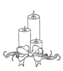 christmas candle wrapped bow coloring pages