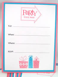 sample blank party invitations with colorful gift arts and white