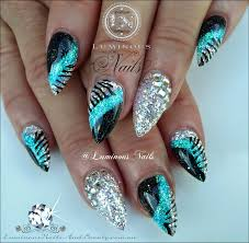 luminous nails blue silver u0026 black acrylic nails with zebra