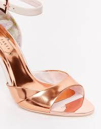 Wedding Shoes Ted Baker Ted Baker Camiyl Rose Gold Two Part Sandals In Pink Lyst