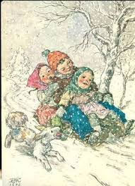 details about antique postcard young boy tree sled christmas