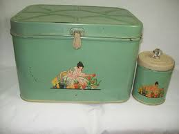 1940s vintage nesco metal tin jadite green bread box tea canister
