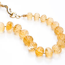 long gold beads necklace images Carved citrine mellons with gold beads necklace penny love designs jpg