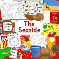 seaside topic teaching resource pack on cd eyfs ks1 holidays