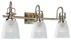 Traditional Bathroom Vanity Lights Oakley 3 Light Bathroom Vanity Fixture Beehive Prismatic Glass