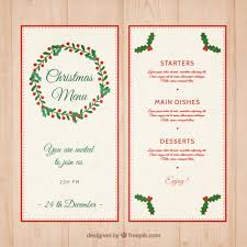 Mistletoe Decoration Christmas Menu Template With Mistletoe Decoration Vector Free