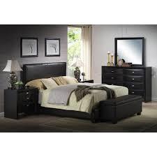 ireland queen faux leather bed black walmart com