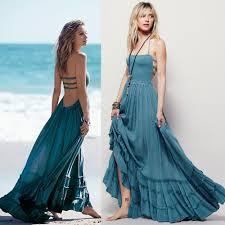 women boho dress people maxi bohemian beach dres solid colors