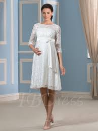 wedding dresses maternity 3 4 length sleeve lace knee length maternity wedding dress
