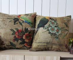 Pillow Store Novelty Gift Pastoral Bird Parrot And Flower Floral Pattern Square