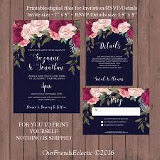 digital wedding invitations navy burgundy wedding invitation printable wedding invitation set