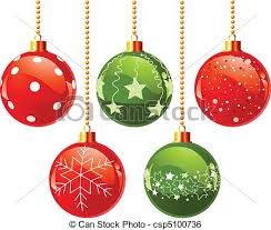 clip art vector of color christmas balls illustration of color
