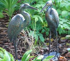 large standing cranes herons outdoor metal ornaments