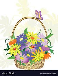 basket of flowers basket of flowers royalty free vector image vectorstock