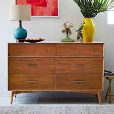 Mid Century Nightstands Mid Century 6 Drawer Dresser Acorn West Elm