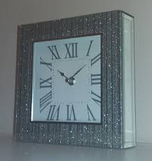 Large Silver Mantel Clock Silver Mirrored Glitter Bling Sparkle Large Mantel Clock U2022 19 80