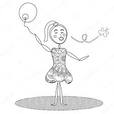abstract holding balloon coloring page u2014 stock photo