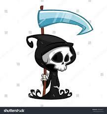 Halloween Skeleton Art Cute Cartoon Grim Reaper Scythe Isolated Stock Vector 492893041