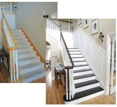 How To Paint A Banister Black Update A Carpeted Staircase To Stained Steps And White Painted