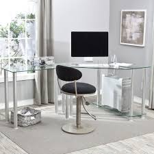Modern Glass Top Desk Furniture Interesting Corner Computer Desk With Glass Top Work