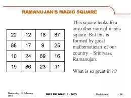 what is srinivasa ramanujan u0027s magic square updated