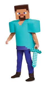 Mine Craft Halloween Costumes by Amazon Com Steve Deluxe Minecraft Costume Multicolor Medium 7