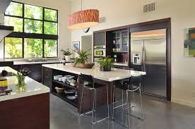 Kitchen Island With Open Shelves Black Countertop White Island With Open Shelves Brown Wooden Chair