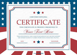 patriotic style certificate template download free vector art