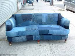 Denim Slipcover Sofa by Recycled Denim Jeans Sofa Covers Recycled Things