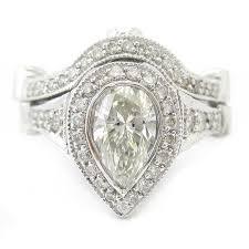 Pear Shaped Wedding Ring by Shape Legacy Ornate Style Diamond Engagement Ring U0026 Band Antique Pe1
