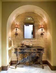 Bronze Bathroom Mirrors by Maya Romanoff Powder Room Mediterranean With Baseboards Bronze