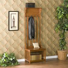 Front Hall Bench by Southern Enterprises Mission Oak Hall Tree Entry Bench Amazon Ca