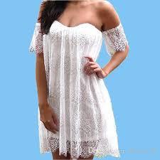 fashion white lace mini dress women night club dresses strapless