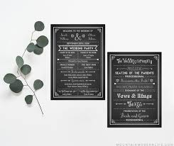 wedding program chalkboard printable diy wedding program fan mountainmodernlife