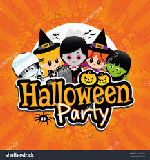 happy halloween party set of cute cartoon children in colorful