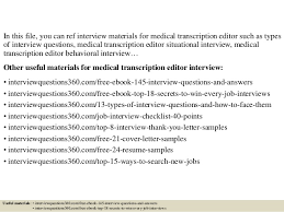 Medical Transcriptionist Resume Sample by Top 10 Medical Transcription Editor Interview Questions And Answers