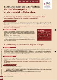 Credit Impot Pour Formation Dirigeant Financement De La Formation Du Chef D Entreprise Et Du Conjoint