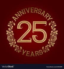 twenty fifth anniversary golden emblem of twenty fifth anniversary vector image