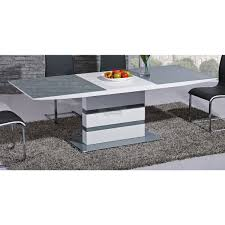 arctic grey glass top and white gloss extending dining table