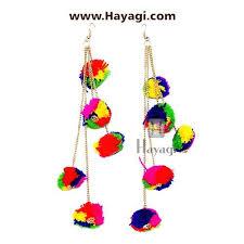danglers earings dangler pom pom earrings for women multi colour hayagi