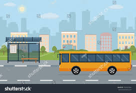concept bus bus stop bus on city background stock vector 723237364 shutterstock