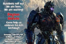 Online Invitation Card Maker Software Transformers The Last Knight Birthday Invitations Digital