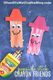 popsicle stick crayon friends kid craft glued to my crafts