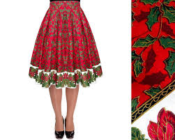 red christmas skirt christmas tree skirt pleated midi skirt