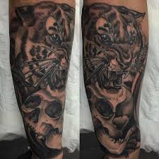 neo traditional tiger and skull on the forearm thanks josh for