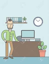 bureau concept un homme caucasien debout dans le bureau concept d