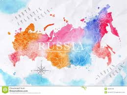 Map Russia Watercolor Map Russia Pink Blue Stock Vector Image 45360106