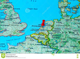 A Map Of Europe Amsterdam Netherlands Pinned On A Map Of Europe Stock Image